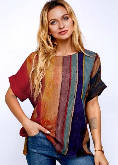 Stripe Print Short Sleeve Round Neck T Shirt - XL