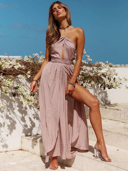 Milanoo Long Summer Dress Spaghetti Straps Split Backless Twisted Maxi Dress