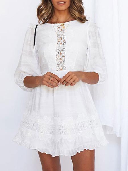 Milanoo White Short Dress Women Jewel Neck Cut Out Half Sleeve Summer Dresses