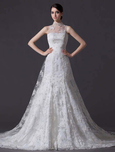 Milanoo Ivory A-line High Collar Lace Court Train Bridal Wedding Gown