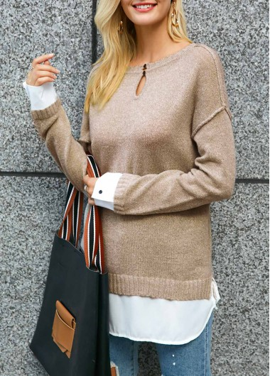 Trendy Button Detail Keyhole Neckline Patchwork Sweater - L