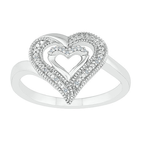 Womens Diamond Accent Genuine White Diamond Sterling Silver Heart Cocktail Ring, 4 , No Color Family