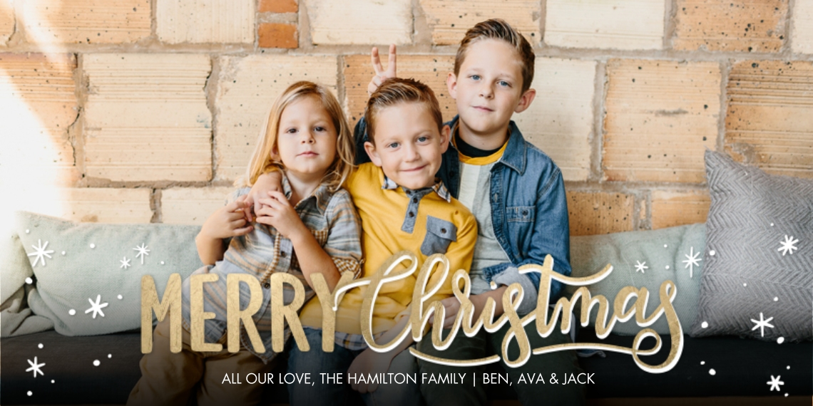 Christmas Photo Cards Flat Glossy Photo Paper Cards with Envelopes, 4x8, Card & Stationery -Christmas Sparkling Script by Tumbalina