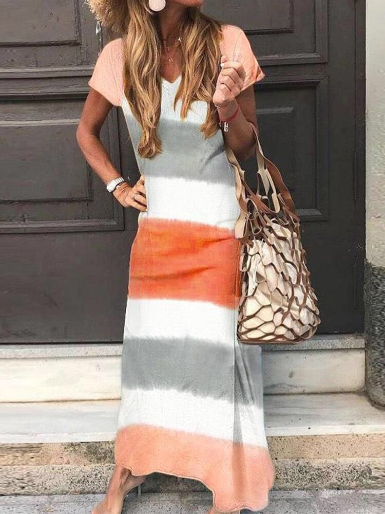 Striped Short Sleeve V-neck Casual Maxi Dress