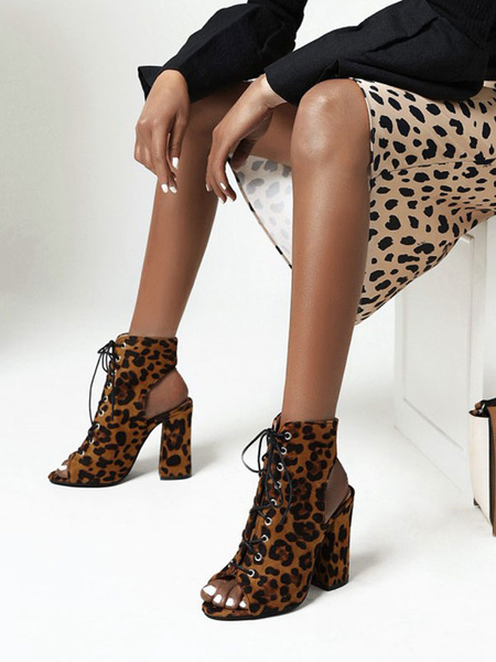 Milanoo Women Sexy Sandals Leopard PU Leather Round Toe Sexy Shoes
