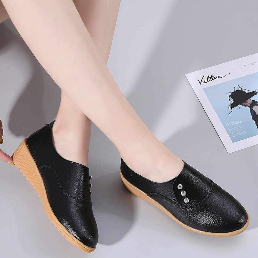 Women's Leather Solid Color Casual Breathable Flats Loafers Shoes