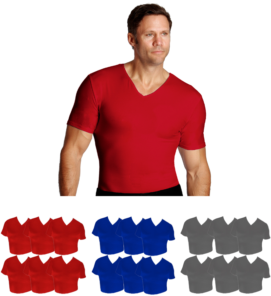 6 Pack IS PRO Activewear Compression V-neck T-shirts VA0006