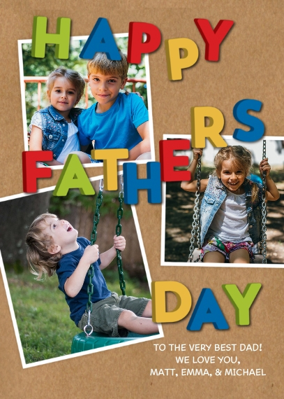 Father's Day 5x7 Folded Cards, Premium Cardstock 120lb, Card & Stationery -Father's Day Magnet Letters