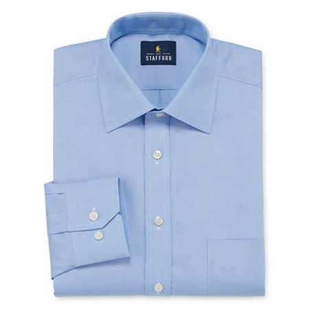 Stafford Executive Non-Iron Cotton Pinpoint Oxford Mens Spread Collar Long Sleeve Stretch Dress Shirt, 16.5 32-33, Blue