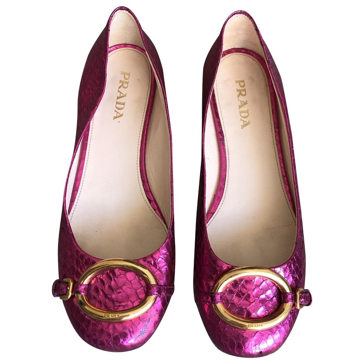 Prada \N Pink Water snake Ballet flats for Women 37.5 EU