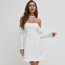 Shirred Puff Sleeve Ruffle Hem Dress