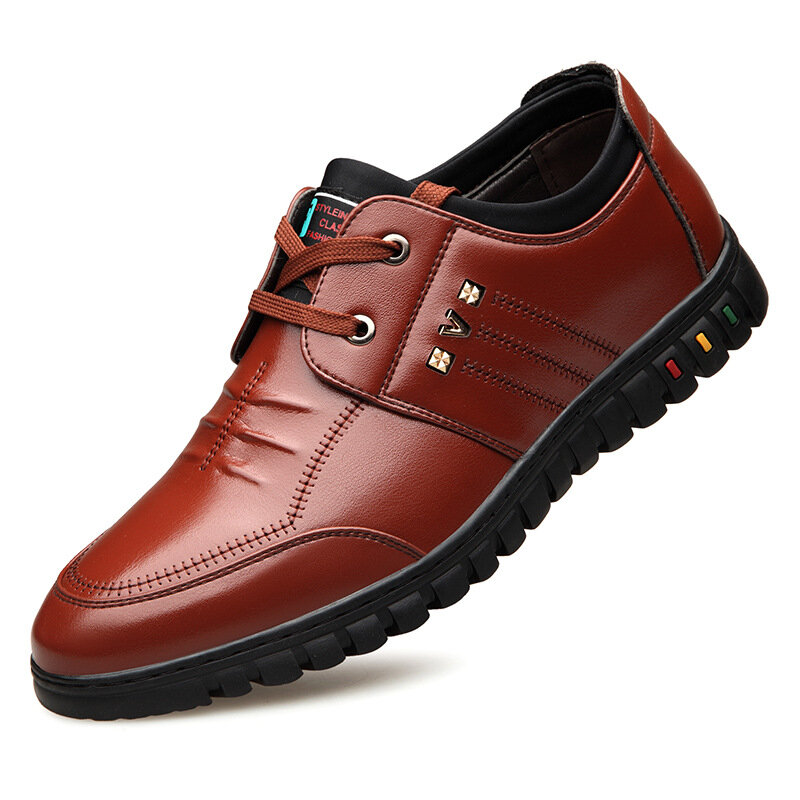 Men Round Toe Lace Up Business Casual Leather Shoes