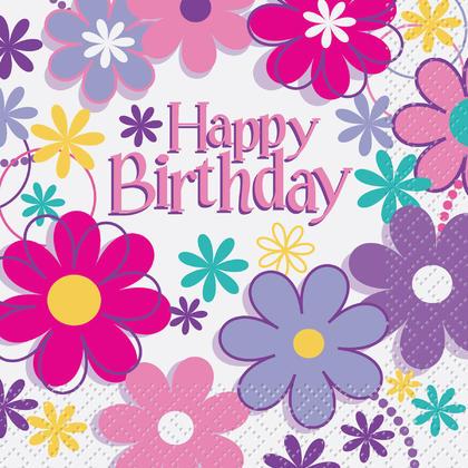 Birthday Blossoms Beverage Napkins, 16ct Pour la fête d'anniversaire