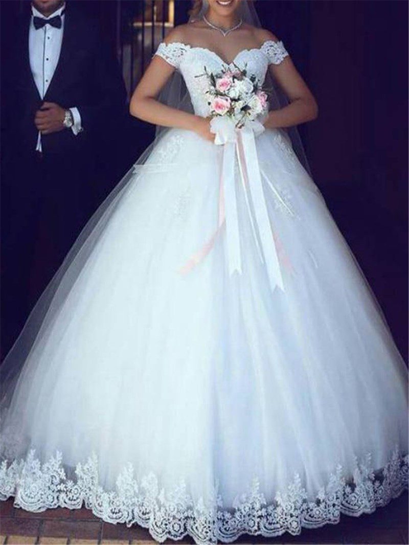 Ericdress Ball Gown Off-The-Shoulder Appliques Bridal Gown