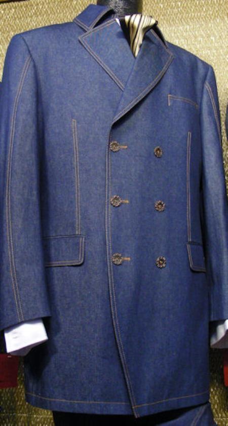 Mens Blue 3 Piece Denim Cotton FabricSuit