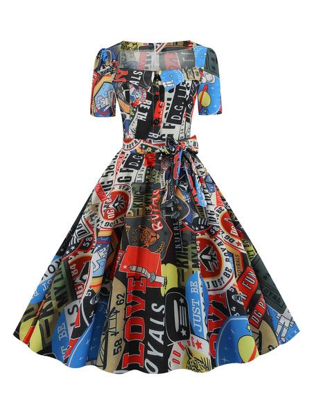 Milanoo Vintage Dress 1950s Leaf Print Square Neck Short Sleeves Swing Dress