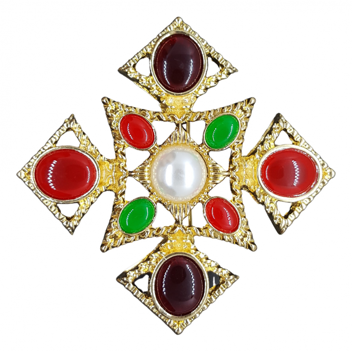 Non Signé / Unsigned Croix Gold Metal Pins & brooches for Women \N