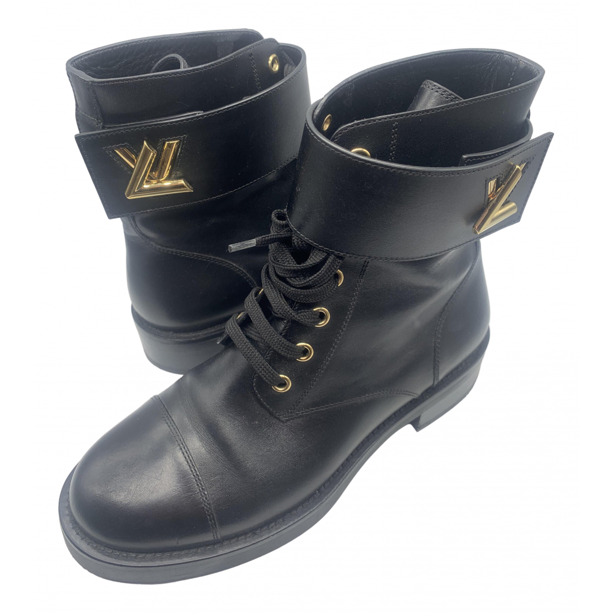 Louis Vuitton Wonderland Black Leather Ankle boots for Women 37 EU