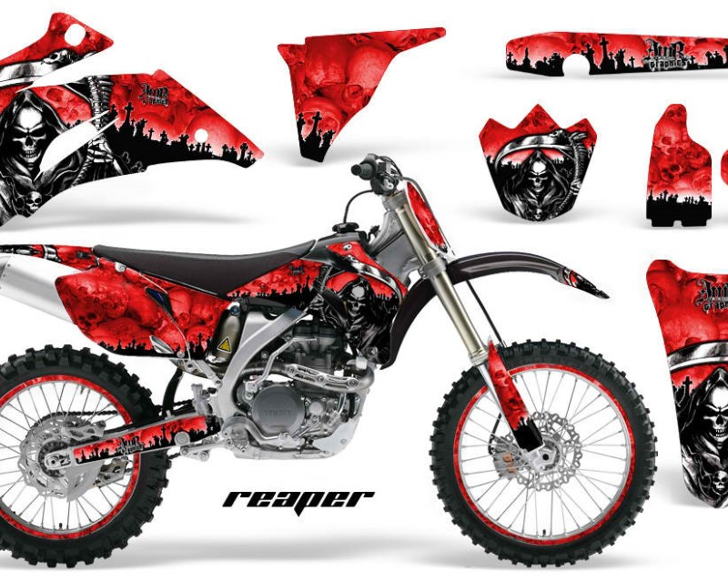 AMR Racing Graphics MX-NP-YAM-YZ250F-YZ450F-06-09-RP R Kit Decal Wrap + # Plates For Yamaha YZ250F YZ450F 2006-2009áREAPER RED