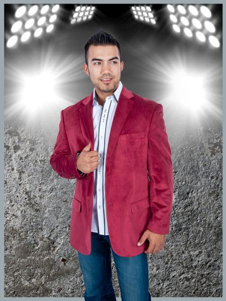2 Button Sport Jacket Burgundy Velvet /Velour Sport coat Blazer