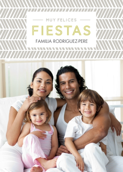 Christmas Photo Cards 5x7 Folded Cards, Standard Cardstock 85lb, Card & Stationery -Felices Fiestas Chevron