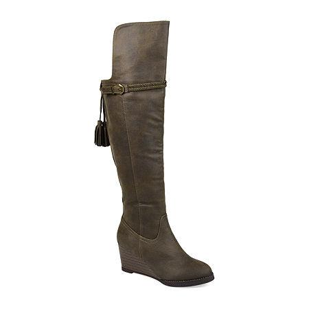 Journee Collection Womens Jezebel Wedge Heel Over the Knee Boots, 8 Medium, Green