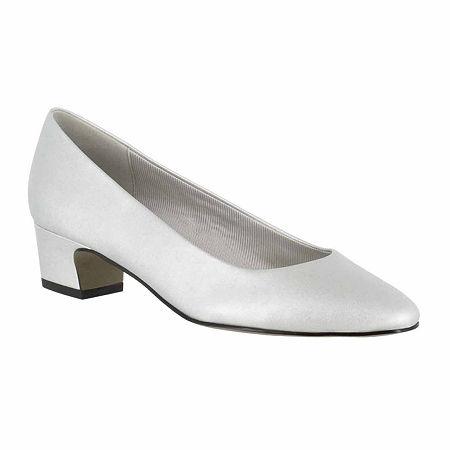Easy Street Womens Prim Pumps Block Heel, 5 1/2 Medium, Silver