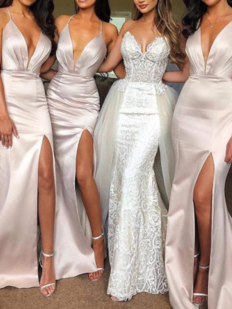 Sleeveless Halter Split-Front Wedding Party Dress