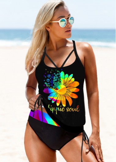 Printed Rainbow Color Strappy Back Tankini Set - M