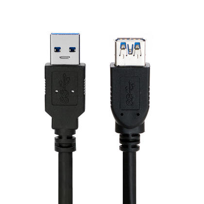 High Quality USB 3.0 A Male to A Female Extension Cable - Black - 3ft - PrimeCables®