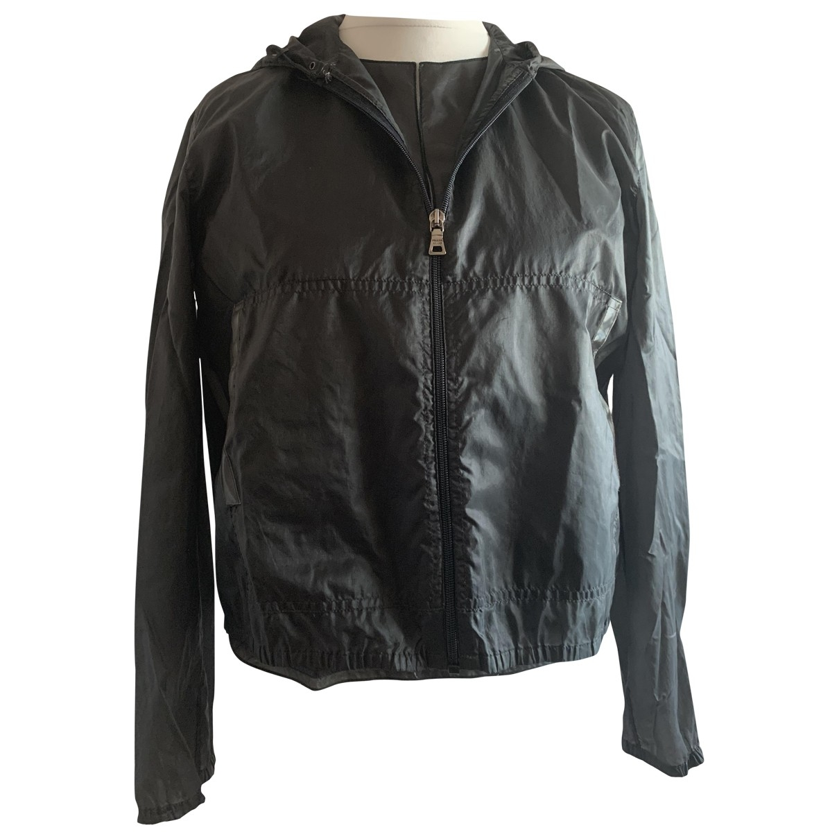 Prada \N Grey Leather jacket for Women 44 IT