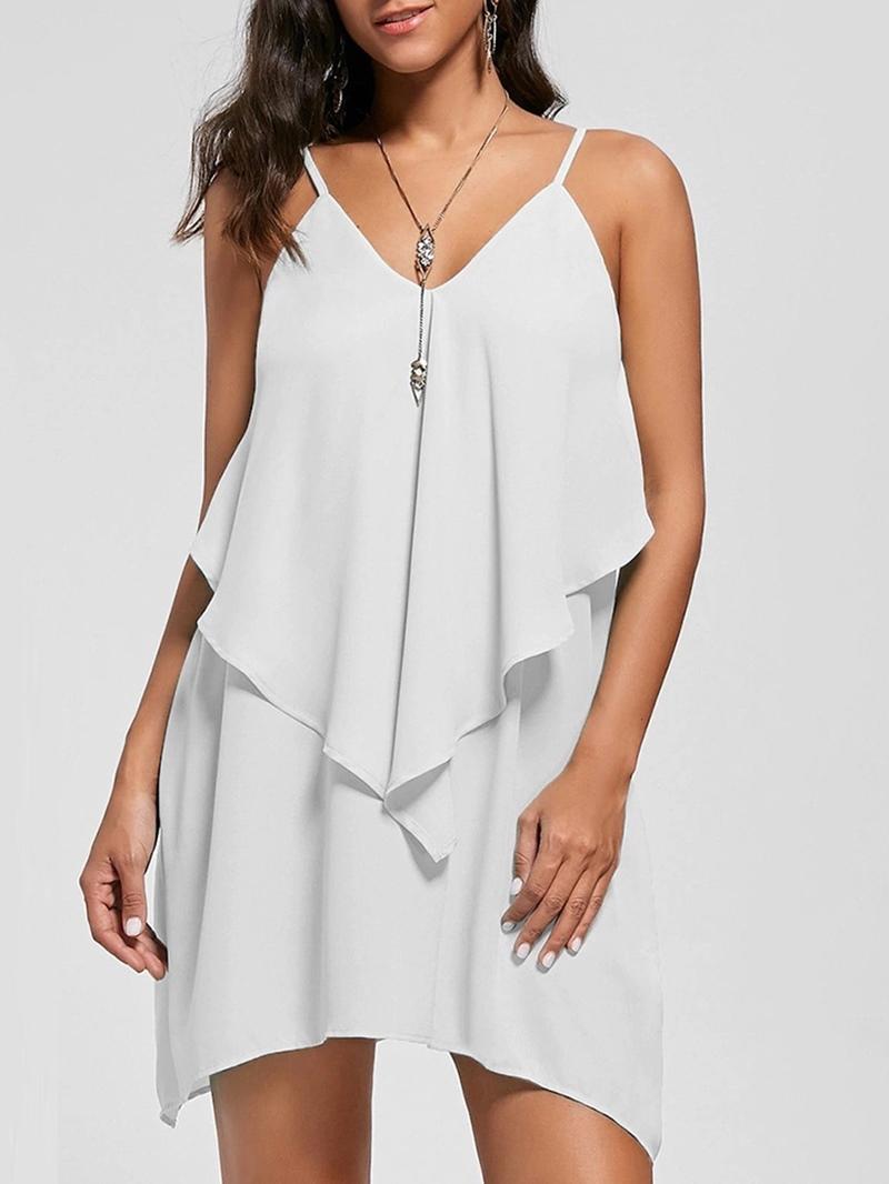 Ericdress V-Neck Asymmetric Ruffles Casual Dress