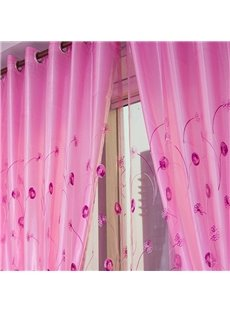 Decorative Thick Cotton Embroidered Dandelions Romantic Style 2 Panels Solid Curtain Set
