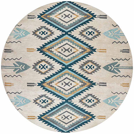 Rizzy Home Southwest Collection Kenzie Diamond Rugs, One Size , Blue