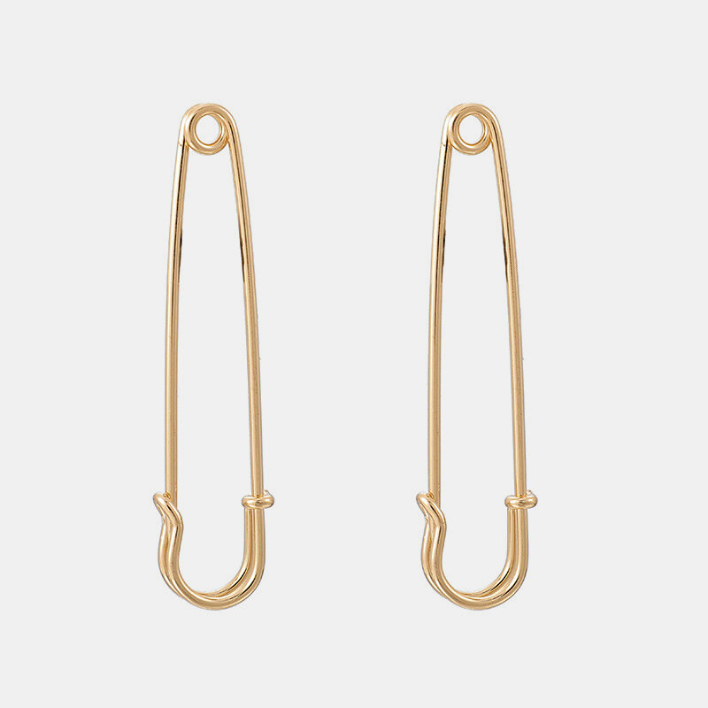 Trendy Metallic Geometric Paperclip Earrings Stereoscopic Pendant Stud Earrings Chic Jewelry