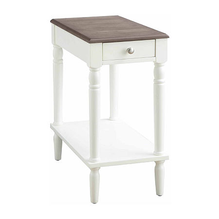 French Country No Tools Chairside Table, One Size , White