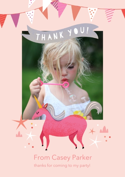 Kids Thank You Cards 5x7 Cards, Premium Cardstock 120lb with Scalloped Corners, Card & Stationery -Birthday Unicorn - Thank You