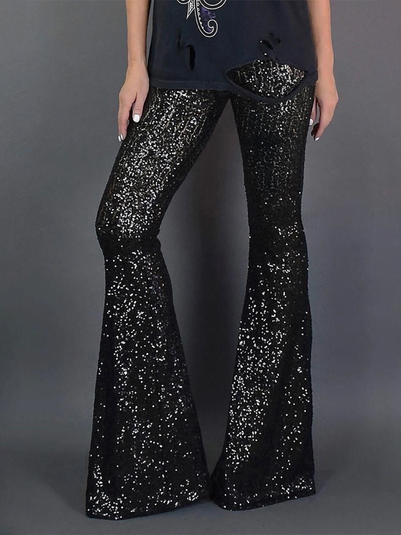 Ericdress Slim Sequins Bellbottoms Women's Casual Pants