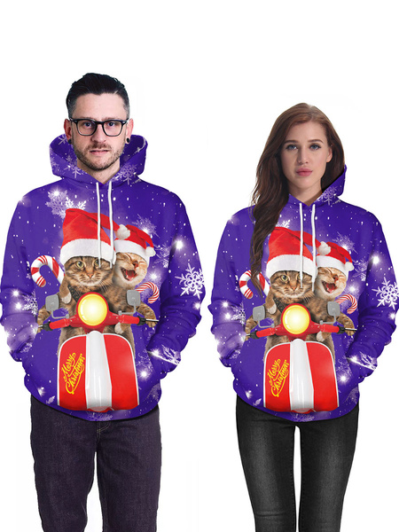 Milanoo Unisex Christmas Hoodie Print Long Sleeve Ugly Christmas Sweater Holidays Costumes
