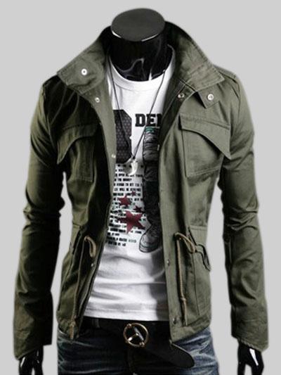 Milanoo Men Military Jacket Hunter Green Stand Collar Long Sleeve Casual Jacket