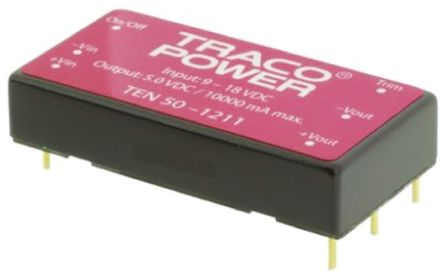 TRACOPOWER TEN 50 50W Isolated DC-DC Converter Through Hole, Voltage in 18 → 36 V dc, Voltage out 5V dc
