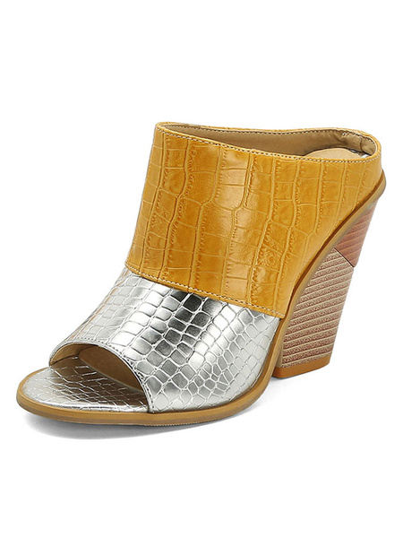 Milanoo Womens Sandals Chunky Heel Open Toe ColorBlock Plus Size Loop Shoes
