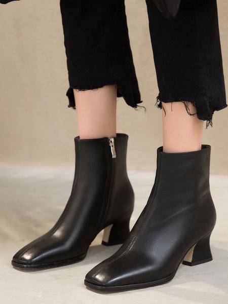 Milanoo Women Ankle Boots Square Toe 2.4 Block Heel Boots