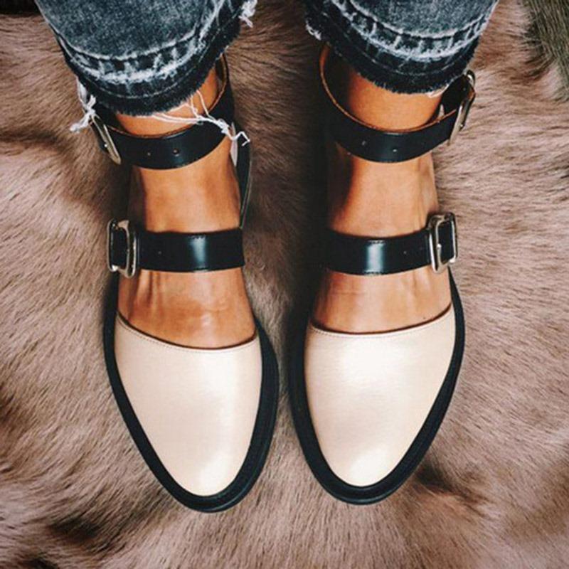 Ericdress PU Round Toe Block Heel Color Block Women's Flats