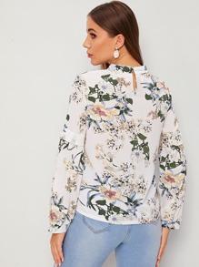 Floral Print Mock Neck Keyhole Back Blouse