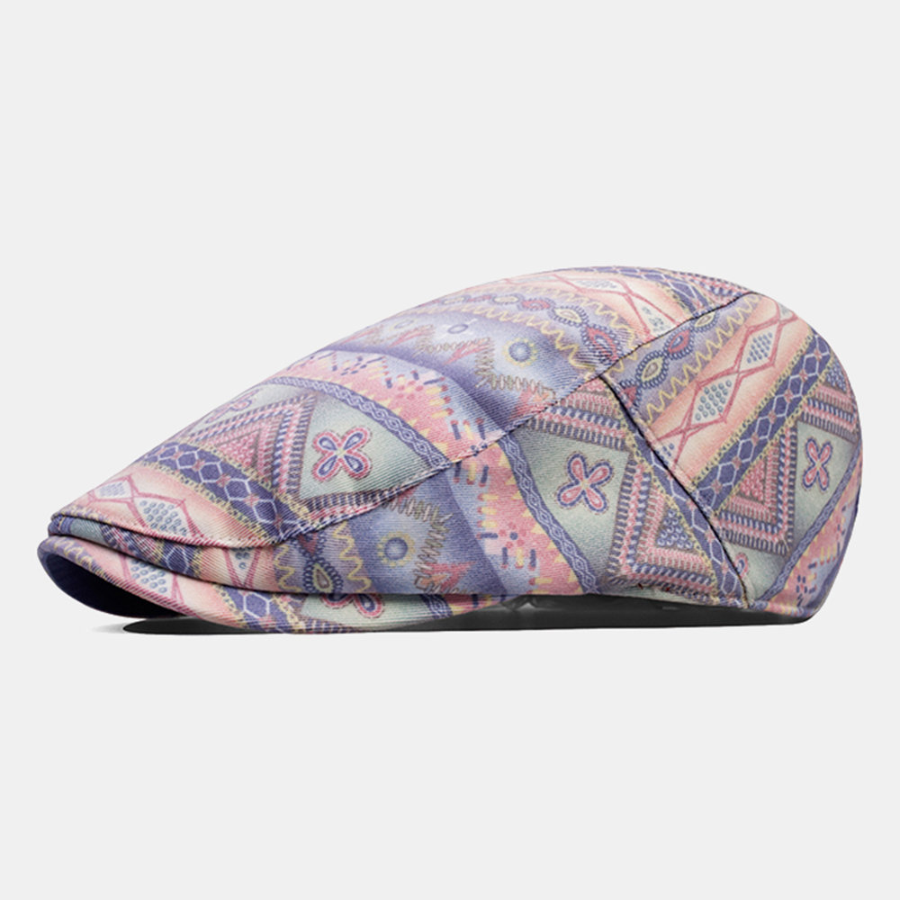 Men Woman Cotton Printed Ethnic Wind Striped Beret Chinese Style Cap