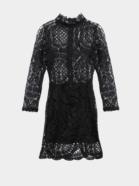 Yoins Black Long Sleeve Lace Dress