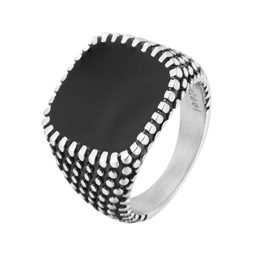 Fashion Finger Rings Drops Polka Dot Square Geometric Stainless Steel Rings Trendy Jewlery for Men