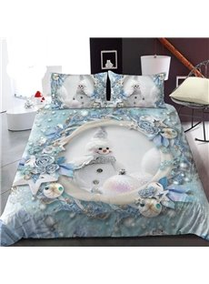 The White Snowman 3D Printed Polyester 1-Piece Warm Quilt