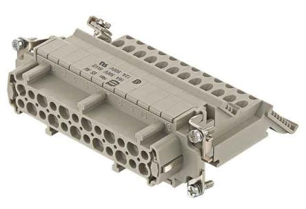 HARTING Han ES AV Female Insert,24P, 0.14mm², 24 Way to2.5mm² Thread Size M3 x 10, 2 Row, Rated At 16A, 600 V, For Use With